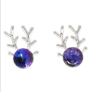 Lovely silver crystal deer earrings